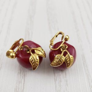 Vintage Avon Red Apple Gold Tone Lucite Earrings